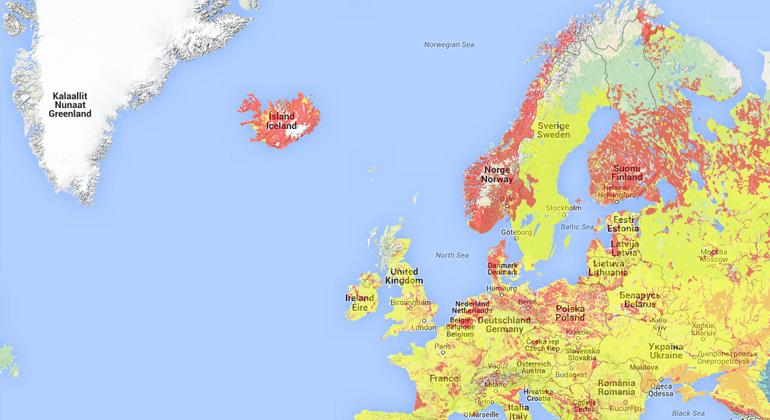 Europakarte für Geothermie