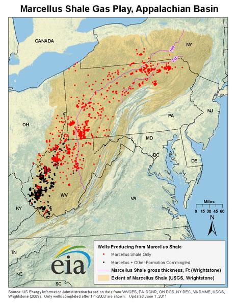 eia.gov | So viele Fracking-Bohrtürme gab es 2013 in der Marcellus-Formation im Nordosten der USA.