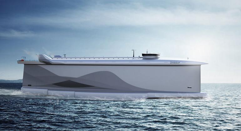 LADE AS | fraunhofer.de | Der Rumpf des Cargo-Schiffs Vindskip™ wirkt wie ein großes Segel.