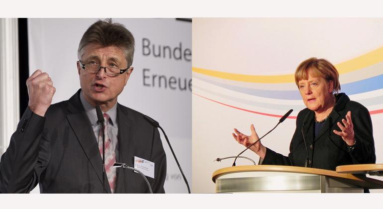bee-ev.de | klimaretter.info | Dr. Ing. E.h. Fritz Brickwedde, BEE-Präsident - Die Kanzlerin lobt die Entschlossenheit des Erneuerbaren-Verbandes. Das kommt dann gut an bei den Branchenvertretern.