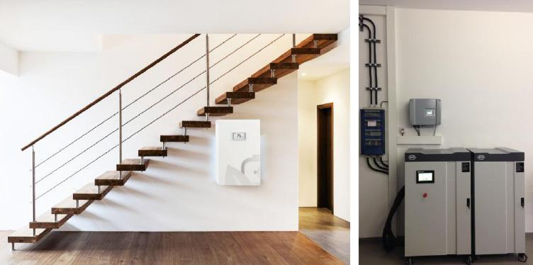 Sonnenbatterie GmbH   FENECON GmbH & Co. KG   Zwei Beispiele von am Markt erhältlichen Hausbatteriespeichern; links Sonnenbatterie eco 4.5 mit 4,5 kWh (3,5 kWh nutzbar bei 80% DOD) und 2,5 kW Leistung, rechts FENECON PRO Hybrid 9-10 mit 10 kWh (8,5 kWh nutzbar bei 85% DOD) und 3*3 kVA Leistung.