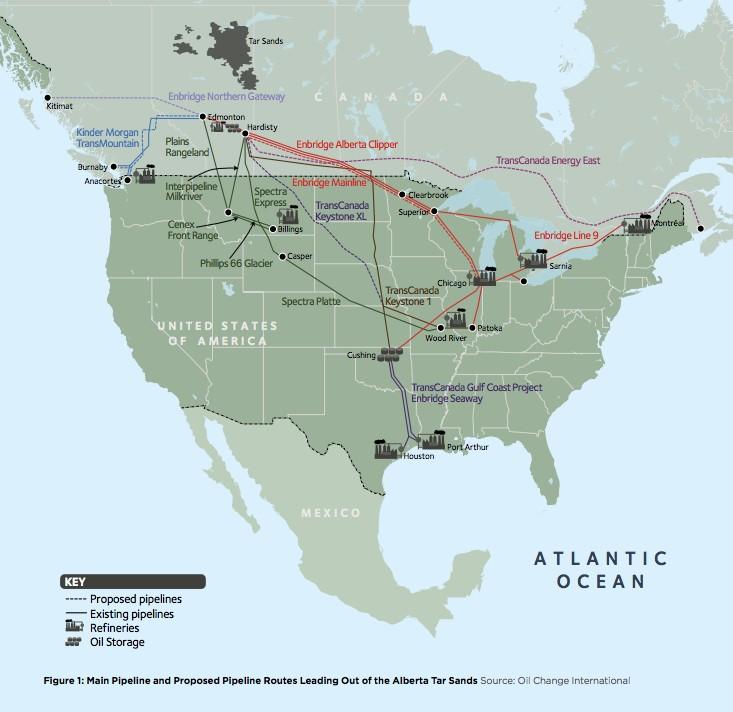 Oil Change International   Die wichtigsten Pipelines (Grafik vergrößern) für den Abtransport von Teersanden aus dem kanadischen Bundesstaat Alberta. Gestrichelte Linien stehen für geplante Pipelines
