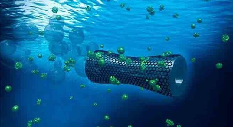 American Chemical Society | Selbstangetriebener Mikroroboter aus Graphen fängt Blei aus Abwasser ein.