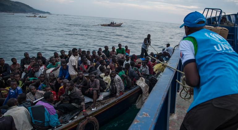 unhcr.org | Tanzania. Influx of Burundian - Refugees Burundian refugees are transferred from the shore of Lake Tanganyika, on Kagunga Peninsula, to the MV Liemba. They will be taken to Nyaragusu refugee camp in Tanzania.