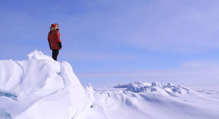 Guido Grosse   Presseisrücken auf einem großen Thermokarstsee in Nordalaska