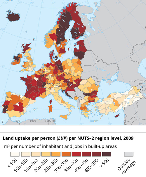 European Environment Agency, 2016 | Land uptake per person (LUP) per NUTS-2 region level, 2009.