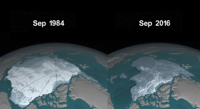 Weekly Animation of Arctic Sea Ice Age with Graph of Ice Age By Area: 1984 – 2016