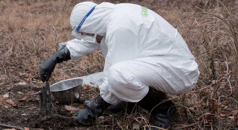greenpeace org | Masaya Noda |Radiation Survey in Iitate - Radiation specialist Jan van de Putte (Belgium) collecting soil samples. Radiation survey around and inside the house of Toru Anzai, who was evacuated from Iitate village in 2011 after the start of the Fukushima Daiichi nuclear disaster.
