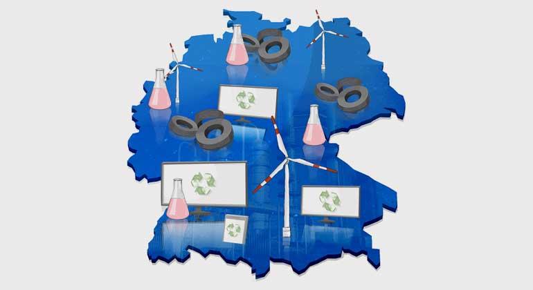 Fraunhofer UMSICHT   In der Studie werden die Stoffströme für die Produktion von Reifen, Rotorblättern aus Windkraftanlagen und LCD-Bildschirmen untersucht.