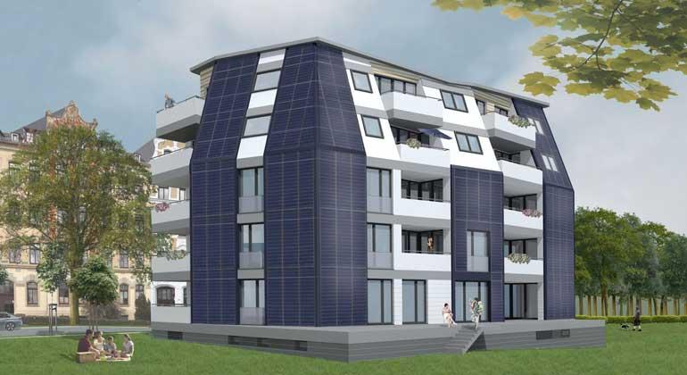energetikhaus100.de | FASA AG/ Beier & Hirsack Planungsgesellschaft mbH | Solardomizil Chemnitz Rückansicht - Die 30 Wohnungen in diesem neuen Geschosswohnungsbau werden zu etwa 50 Prozent solar beheizt.