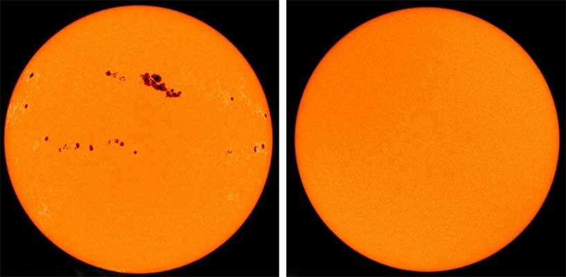 NASA/ESA/SOHO | Solarer Zyklus: Die Sonne strahlt nicht immer gleich. Vielmehr schwankt ihre Aktivität mit einer etwa elfjährigen Periode, in der auch die Zahl der Sonnenflecken variiert. So stammt die linke Aufnahme aus dem Jahr 2001 (Maximum), die rechte aus dem Jahr 2009 (Minimum).