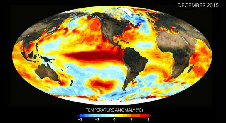 NASA | Water temperatures in the eastern and central Pacific were significantly increased through El Niño in December 2015.