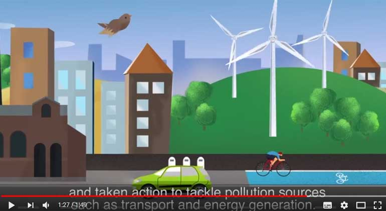 European Environment Agency | Air Quality animation | Screenshot | Air – it's all around us.It's what we breathe, and it's vital to our health and well-being. Economic activities, such as transport, industry and agriculture, release air pollutants, harmful to the environment and human health.