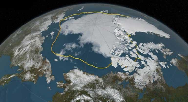 NASA | Goldene Linie markiert frühere Eisausbreitung