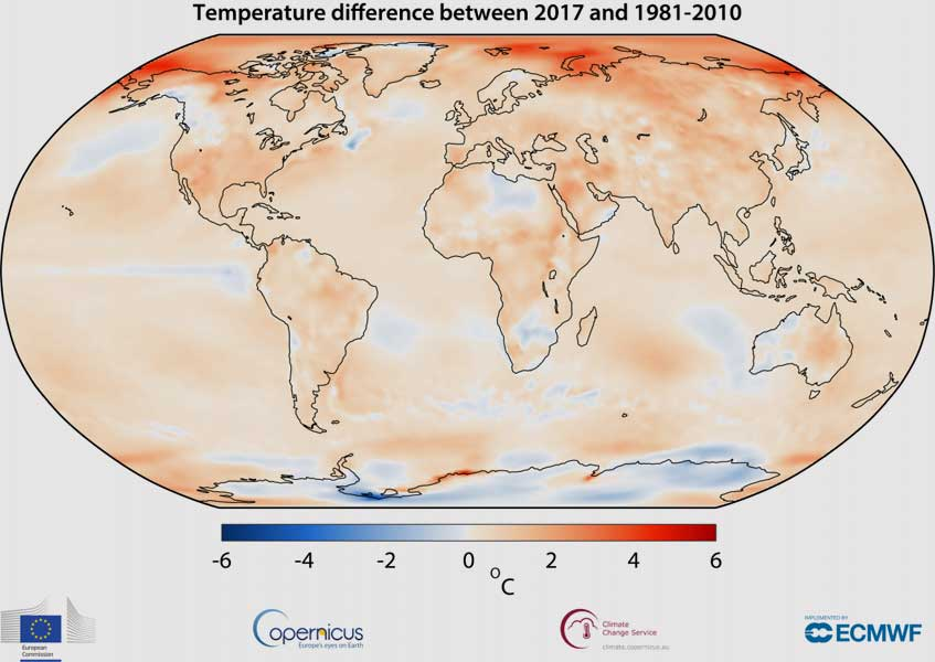 Copernicus Climate Change Service, ECMWF | Air temperature at a height of two metres for 2017, shown relative to its 1981–2010 average.