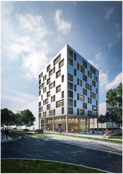 Kaden+Lager   Das Holzhochhaus in Heilbronn wird mit Aluminiumplatten verkleidet.
