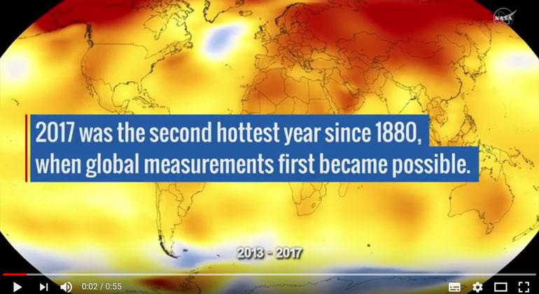 NASA Goddard Space Flight Center Youtube-Screenshot   2017 war das zweitwärmste Jahr seit 1880, als weltweite Messungen erstmals möglich wurden.