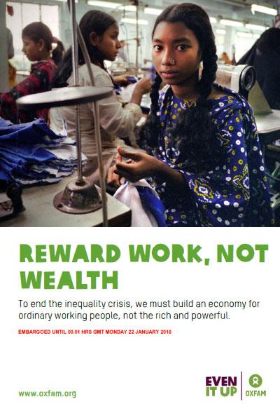 OXFAM | Die 3,7 Milliarden Menschen, die die ärmere Hälfte der Weltbevölkerung ausmachen, haben dagegen überhaupt nicht vom Vermögenswachstum profitiert. Oxfam fordert, die Steuervermeidung von Konzernen und Superreichen zu stoppen, faire Einkommen für Frauen und Männer durchzusetzen und in Bildung und Gesundheit für alle zu investieren.