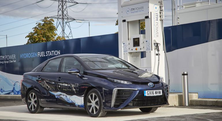 Toyota Mirai - ITM Power Hydrogen Station | UC Riverside researchers have developed an inexpensive, efficient catalyst material for polymer electrolyte membrane (PEM) fuel cells which are among the most promising fuel cell types to power cars and electronics.
