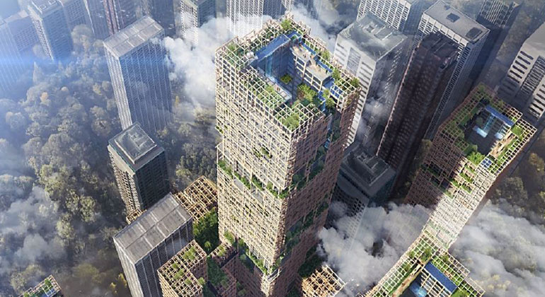 Sumitomo Forestry | New Development Concept W350 Plan for Wooden High-Rise Building