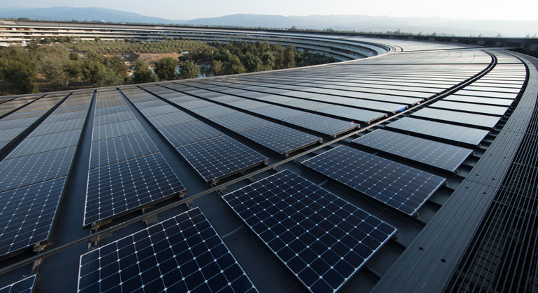 apple.com | Apple's new headquarters in Cupertino is powered by 100 percent renewable energy, in part from a 17-megawatt onsite rooftop solar installation.