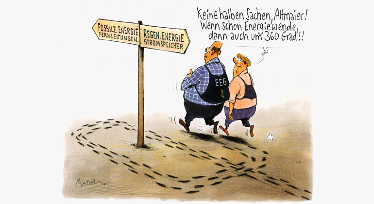 sfv.de | Gerhard Mester | Eine der besten Karikaturen von Gerhard Mester zeigt, wie Altmaier als Umweltminister sich seiner Aufgabe entzogen hat - in trautem Verein mit Angela Merkel.