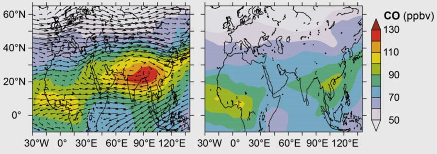 MPI für Chemie   Modellergebnisse verdeutlichen die Luftverschmutzung über Südasien. Das linke Bild zeigt die Kohlenmonoxidemissionen (CO) in 12 bis 17 Kilometer Höhe, rechts die Darstellung ohne Emissionen aus Südasien. Im linken Bild sind zudem die Winde über der Region dargestellt, wodurch man den Antizyklon gut erkennt, der durch den Monsun entsteht. Die Einheit ppbv steht für parts per billion by volume, also Teile pro Milliarde in einem Volumen.