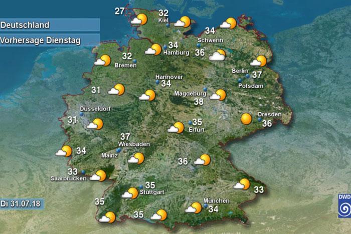 Abbildung 02: Screenshot/DWD | Hitze all over: Vorhersage des Deutschen Wetterdienstes vom 30. Juli 2018, für den folgenden Tag.