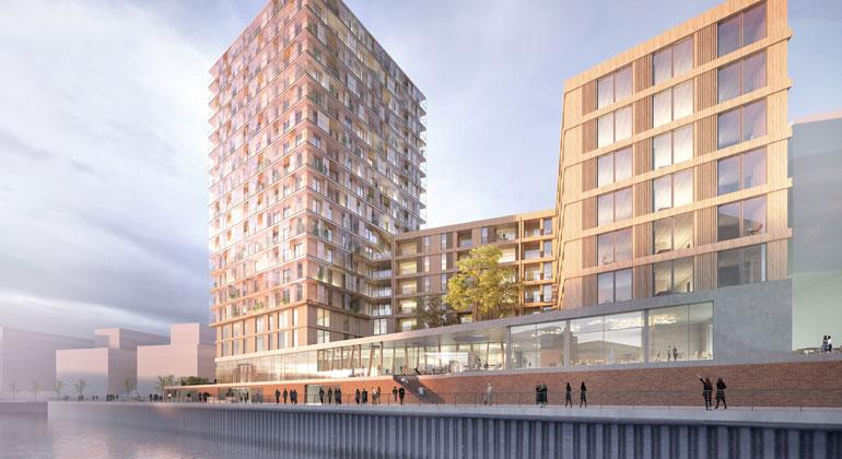 dbu.de | Störmer Murphy and Partners GbR | In der Hamburger Hafencity soll das höchste Holzhochhaus Deutschlands entstehen - ein länglicher Komplex mit sieben sowie ein Turm mit 19 Etagen, alles aus nachhaltig zertifiziertem Holz.