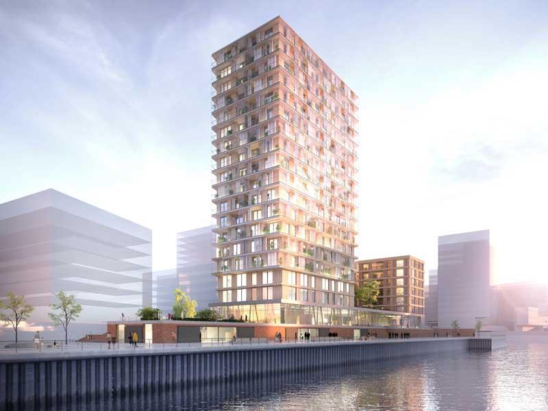 dbu.de | Störmer Murphy and Partners GbR | Aufgrund seiner markanten Lage in der Hamburger Hafencity kann der Gebäudekomplex das Bauen mit Holz noch bekannter machen bei den vielen Besuchern, die täglich diese Stelle passieren.