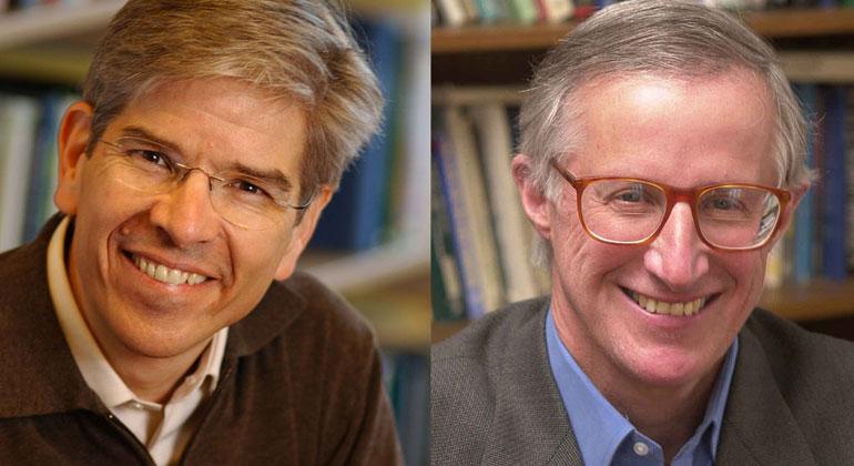 Stefan Bernd, wikimedia.org, CC BY-SA 2.5 / © Yale University   Die beiden Wirtschaftsnobelpreisträger Paul Michael Romer (links) und William Dawbney Nordhaus (rechts).