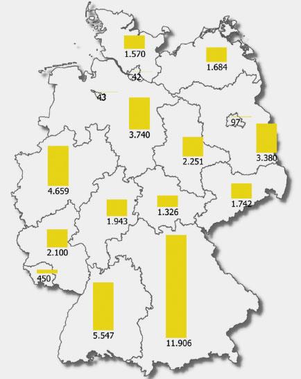 um.baden-wuerttemberg.de | Angaben in MW Stand: Ende 2017 | Installierte Leistung von Photovoltaikanlagen Ende 2017
