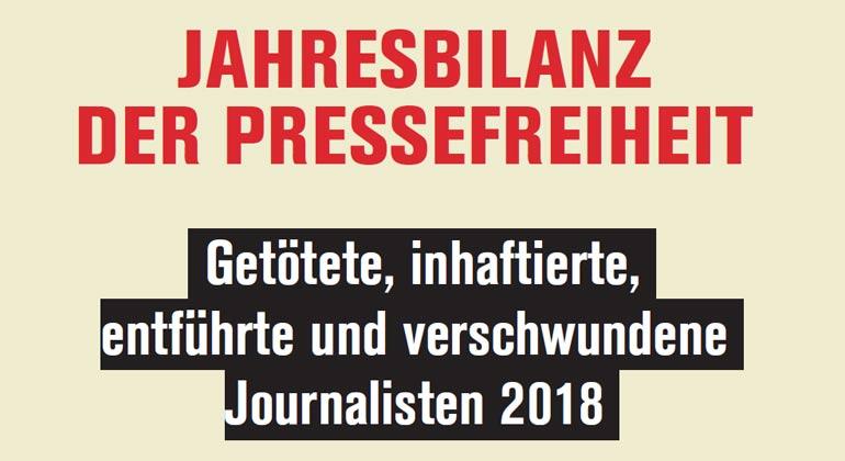 Jahresbilanz der Pressefreiheit: Weltweit 80 Medienschaffende getötet
