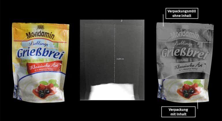 Verbraucherzentrale Hamburg e.V. | Rund 83% der Packung des Mondamin Lieblingsgrießbreis von Unilever ist ohne Inhalt. Das Produkt schnitt in der Stichprobe am schlechtesten ab.