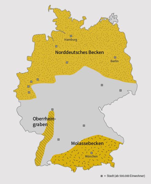 Deutsches GeoForschungsZentrum | Wissensplattform Erde und Umwelt, CC BY 4.0 | Regionen in Deutschland mit hohem Erdwärme-Potenzial (gelb).