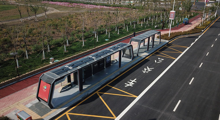 Hanergy Launches Smart Bus Station Armed with thin film solar powered panels in