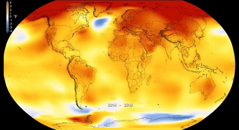 NASA's Goddard Space Flight Center | Temeraturanomalien: Höhere Temperaturen als normal sind rot dargestellt, niedrigere blau.