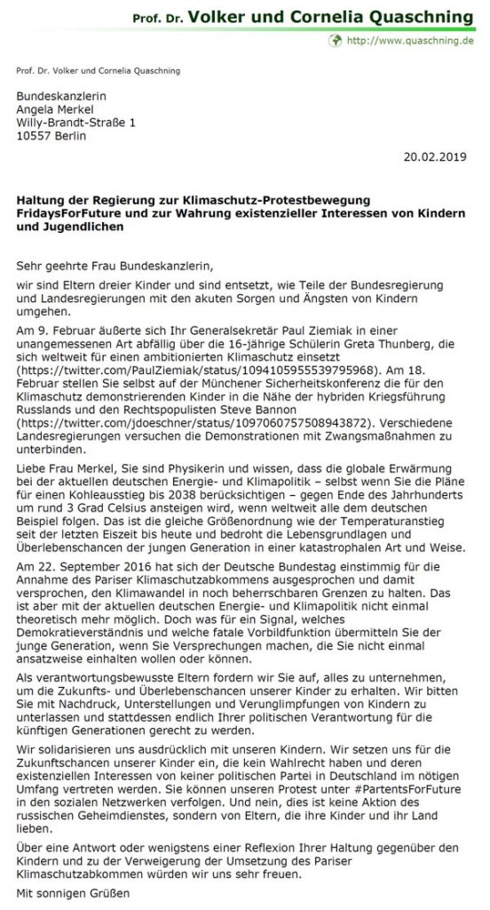 #Merkel und @PaulZiemiak diskreditieren Sorgen und #Klimawandel-Ängste von Kindern u. Jugendlichen. In einem #Protest-Brief fordern Cornelia und Volker Quaschning, diese Verunglimpfungen zu unterlassen und sich endlich für Erhalt deren Überlebenschancen einzusetzen. #ParentsForFuture #FridaysForFuture