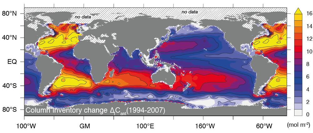 Grafik: aus Gruber et al., Science, 2019   Die Karte zeigt die Zunahme des menschgemachten CO2 (Säule bis 3000 Meter Tiefe) in den Weltmeeren zwischen 1994 und 2007. Gebiete mit einer hohen Zunahme sind gelb eingefärbt.