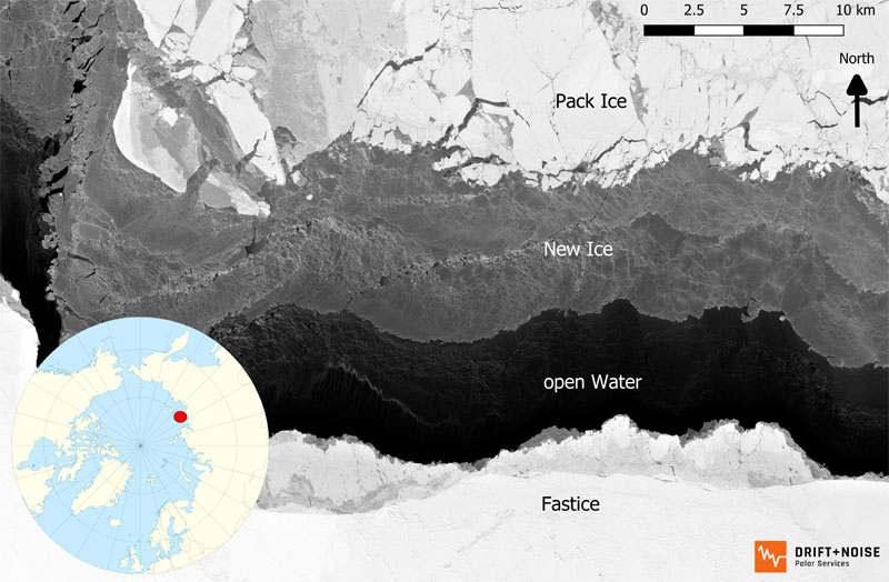 awi.de   ESA/DriftNoise – Satellite Services   The shallow Russian shelf or marginal seas of the Arctic Ocean are generally considered to be the 'nursery' of Arctic sea ice. Strong, offshore directed winds push the pack ice in winter away from the coast, and extremely low temperatures lead to the development of new ice zones. The image, obtained by an ESA satellite on 26st March 2019, shows the process of new ice formation along the Russian coast line (the Laptev Sea). In the process, algae, sediments and nutrients are mixed near the water's surface and become trapped in the ice.