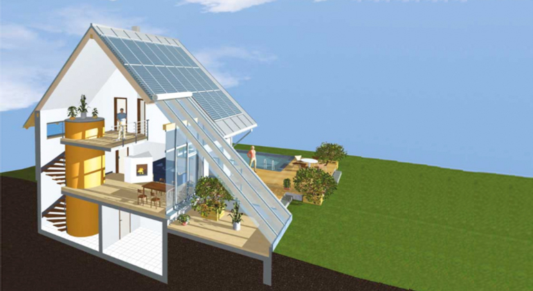 Sonnenhaus-Institut e.V. | Sonnenhaus 3D-Grafik (Schnittdarstellung)