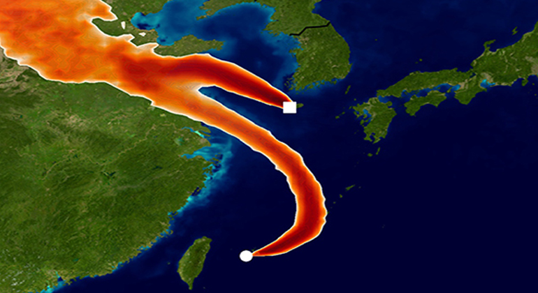University of Bristol | Simulated atmospheric transport of CFC-11 to the Gosan and Hateruma monitoring sites using the Met Office NAME model. The colours show areas where emission sources would strongly impact the CFC-11 measurements for one day in December 2014. This model information has been used to infer a rise in emissions from eastern China, starting around 2013