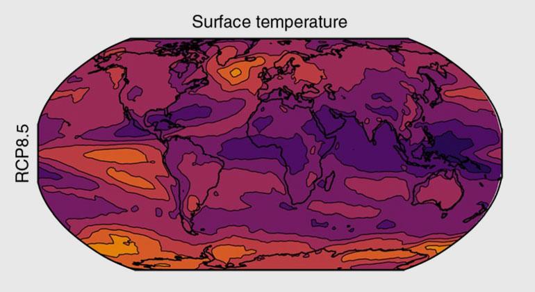 Power & Delage| Nature Climate Change | Je dunkler die Farbgebung, desto höher die Wahrscheinlichkeit von jährlich neuen Hitzerekorden. Besonders der tropische Raum wäre betroffen. Die Karte zeigt die Anzahl der Jahre mit mindestens einem neuen Hitzerekord-Monat bei einem weiter-wie-bisher-Szenario (und einer durchschnittlichen globalen Erwärmung von 3-5 Grad).