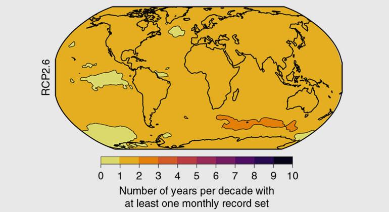 Power & Delage| Nature Climate Change | Die Karte hingegen zeigt die Anzahl der Jahre mit mindestens einem neuen Hitzerekord-Monat bei einem Szenario deutlich unter 2 Grad globaler Erwärmung.