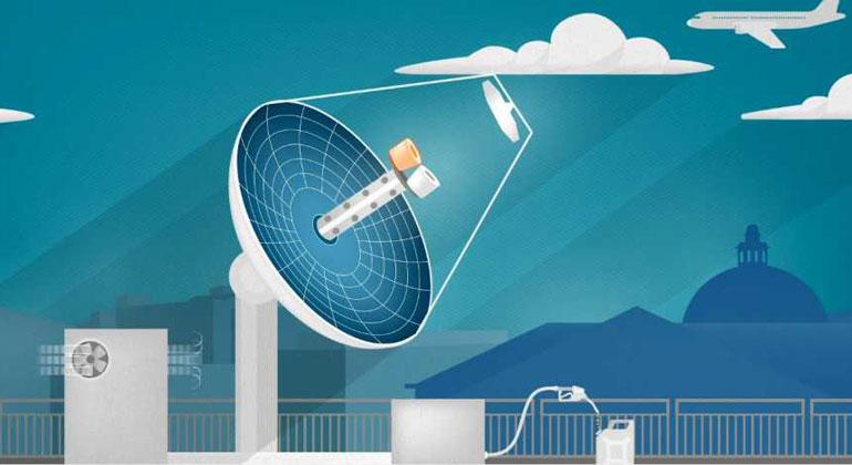 Animation: Tricklabor / ETH Zürich | Eine neue Mini-Raffinerie auf dem Dach des ETH-Maschinenlabors in Zürich produziert mit Sonnenlicht klimaneutralen Treibstoff – und hat das Potenzial für eine nachhaltige Luftfahrt der Zukunft.