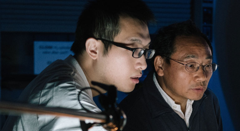 uh.edu | Texas Center for Superconductivity at UH Director Zhifeng Ren, right, and post-doctoral researcher Jun Mao say a new thermoelectric cooling material is inexpensive to produce and works efficiently at room temperature.