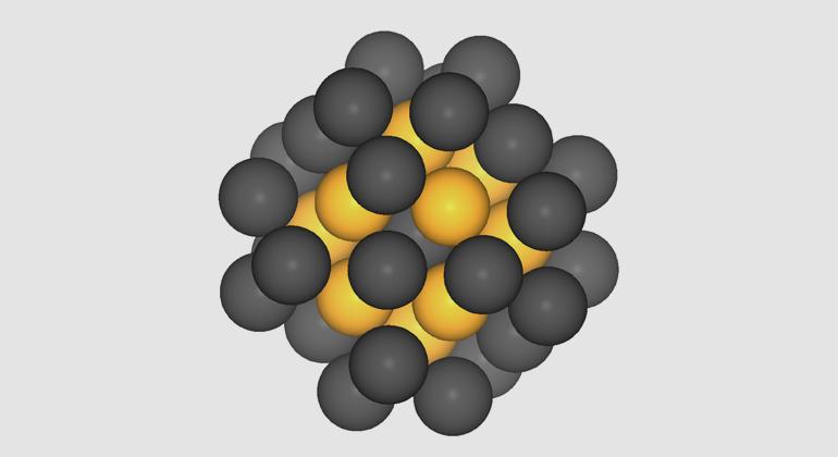 Batyr Garlyyev / TUM   Platin-Nanopartikel mit 40 Atomen. Theoretischen Berechnungen zufolge sollten Nanopartikel dieser Groesse die optimale Katalysatorwirkung entfalten.