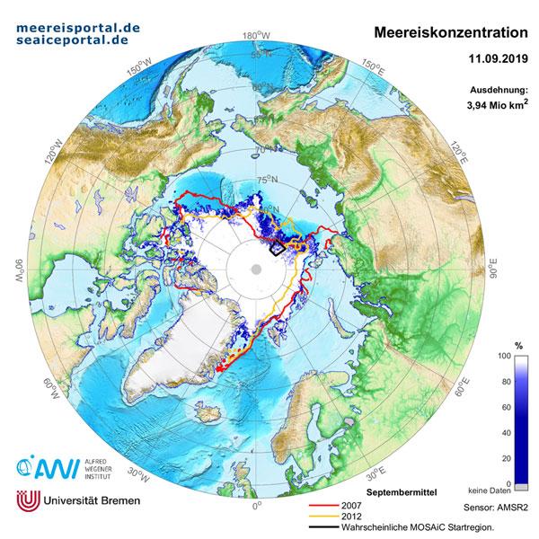 AWI   meereisportal.de   Karte der Meereisausdehnung am 11. September 2019. Zum Vergleich sind in minimalen Eisausdehnungen 2007 (Rot) und 2012 (Gelb) gezeigt. In beiden Jahren wurden wir die bisher niedrigsten Meereisausdehnungen erreicht. Ergänzend ist die mögliche MOSAiC Startregion in schwarz gekennzeichnet.