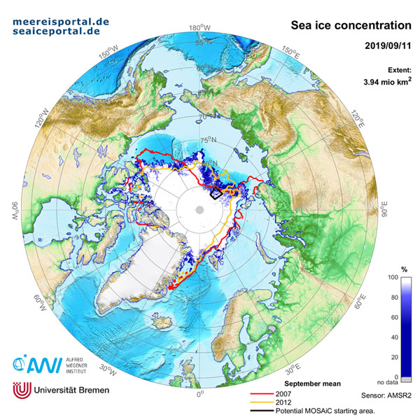 AWI | meereisportal.de | Map of the Arctic sea ice extent on 11 September 2019. For comparison, the minimum extent in 2007 (red line) and 2012 (yellow line) are displayed, the years with the lowest summer minima to date. Additionally, the starting region for the MOSAiC expedition with RV Polarstern is marked in black.