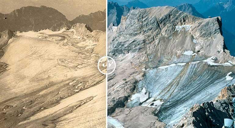 Den Rückgang einiger Gletscher hat die Gesellschaft für ökologische Forschung mit Fotos eingefangen: Der Schneeferner an der Zugspitze in den Bayerischen Alpen: Die Aufnahme rechts aus dem Jahr 2011 macht im Vergleich zur historischen Postkarte links deutlich, wie stark sich der Gletscher zurückgezogen hat.